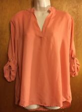 NEW Women Casual Long Sleeve Coral Summer Chiffon Loose Tops Blouse