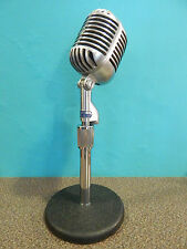 Vintage Shure 55 Fatboy Dynamic Multi Impedance Microphone With Atlas Stand