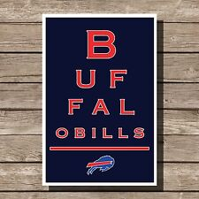 Buffalo Bills Art Football NFL Eyechart Poster Man Cave Decor 12x16""