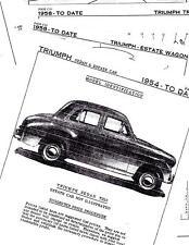 1958 1959 1960 TRIUMPH TR10 58 59 60 BODY PARTS LIST FRAME CRASH SHEETS MFRE