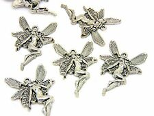 10 Pcs -  Antique Silver Woodland Fairy / Angel Charm Jewellery Pendant Z191