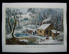 1870 Original Currier & Ives Print Home in Wilderness Winter View #17 of Best 50