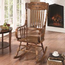 Traditional Oak Finish Ornamental Headrest Slat Back Wood Rocking Chair Rocker