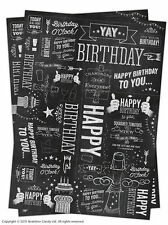 Brainbox Candy Chalk wrapping paper gift wrap 2 sheets birthday black and white