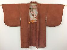 Authentic japanese brown silk haori veste de kimono, avec himo, utilisé (K1167)