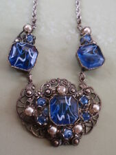 VINTAGE 1950's SILVER CHROME PLATED FILIGREE FAUX CRYSTAL BLUE AGATE NECKLACE