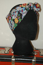 sugar skull day of the dead mexico head scarf rockabilly 50s pin up hair wrap