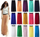Chic Lady Double Layer Chiffon Pleated Retro Long Maxi Dress Elastic Waist Skirt