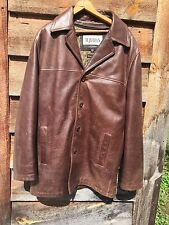 M Julian Wilsons Leather Quilt Lined Textured Brown Over Coat Jacket XLT XL Tall