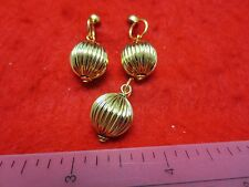 """14KT GOLD EP  FLUTED 1/2"""" BALL DROP EARRINGS WITH MEDIUM POSTS AND PENDANT SET"""