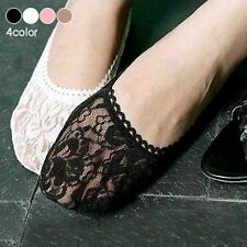 White 1Pair Women Antiskid Invisible Lace Ankle No Show Liner Peds Low Cut Socks
