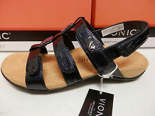 VIONIC W/ ORTHAHEEL TECHNOLOGY WOMENS SANDALS AMBER NAVY CROC SIZE 7