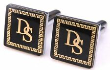 Men`s Classic Greek Golden Letter D S Buttons Square Cufflinks Wedding Party