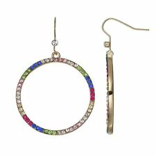 NWT Juicy Couture Gold-Tone Multi Color Drop Hoop Earrings