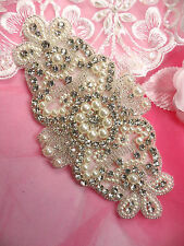 JB183 Crystal Rhinestone Pearl Applique Silver Beaded Patch DIY Bridal SASH