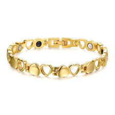 Women's Titanium Steel Heart Solitaire Magnetic Health Therapy Bracelet Gift