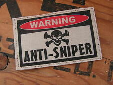 Patch velcro ..:: WARNING ANTI-SNIPER ::.. AIRSOFT PAINTBALL US TAN