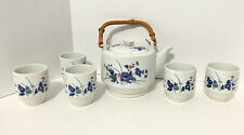 VINTAGE OMC Japan Asian Porcelain Floral Pattern Tea Pot and 5 Cups Set EUC