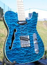 Weller telestar, quilted Maple, Maple Neck, strings thru Body, F Hole, bleu