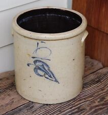 Antique Red Wing Stoneware Salt Glaze 5 Gallon Crock Large Cobalt Blue Leaf