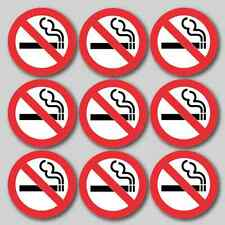 9 x Circle No Smoking Stickers - 75MMx75MM - Printed Vinyl Stickers - TAXI FLEET