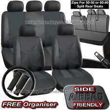 Black Leather Look Split Rear Seats Air Bag Friendly Full Car Seat Covers Alaska