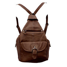 Genuine Leather Large Brown Sling Backpack Organizer w Buckle & Multi Pockets