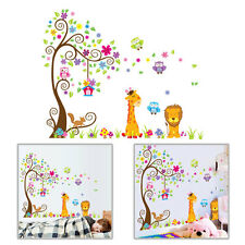 Lion Giraffe Owl Flower Tree Cartoon Wall Sticker Decal Kids Room Nursery Decor