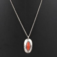 STERLING SILVER RED CORAL STONE SOUTHWESTERN PENDANT CHAIN NECKLACE 925 0362B