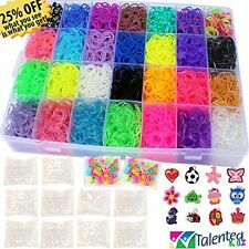 Weaving Loom Tools Accessories 9100 Pieces Rainbow MEGA Refill Bands Beads Clips