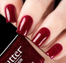 New Butter London Chancer Nail Polish Lacquer Red Glitter Full Size 11 ml
