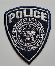 NOVELTY MILITARY SEW ON / IRON ON PATCH:- POLICE (c) DARK BLUE & WHITE SHIELD
