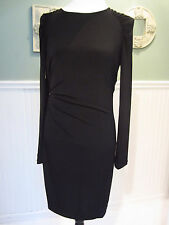 NWT MICHAEL KORS Zip Ruch-Side Faux Wrap Longsleeve Jersey Black Dress Sz M,$120