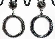 """Classic textured door knocker post hoop earrings antiqued hematite 1.5"""" light"""