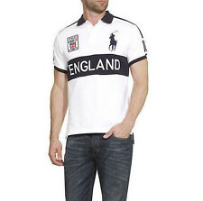 Ralph Lauren ENGLAND POLO T-shirt Girocollo Bianco Custom Fit-Big Pony Taglia Large L