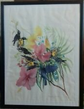 MARJORIE ZAMAN-COLOURFUL BIRDS/FLOWERS.SIGNED/1986.ORIGINAL WATERCOLOUR. FRAMED.