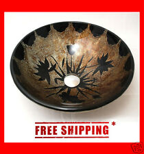 Hand Painted Tempered Glass Bathroom Designer Vessel Sink Basin Bowl - BSG001