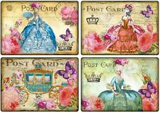 Marie Antoinette carriage roses butterfly post card small note cards tags 8