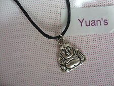 A New Wax Cord Tibetan Silver Chinese Lucky Buddha Budda Charm Pendant Necklace