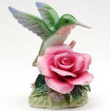 ♫ New MUSIC BOX Porcelain HUMMINGBIRD ROSE Musical Figurine BLING Flower Bird ♫