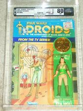 Vintage Star Wars 1985 AFA 80/85/85 KEA MOLL DROIDS Cartoon TV series Card MOC!!