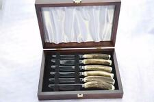 Six Stag/Antler Handle Steak/Grill Knives Cased Made In Sheffield England