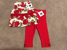 NWTS Janie And Jack Girls 5T 5 Valentine's Day Outfit Roses Ponte Pants Top