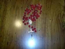 VINTAGE - RED BEAD ROSARY - WITH METAL - MEDAL & CROSS