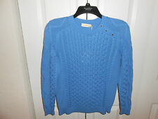 TORY BURCH Ladies 'Amirah' Cable Knit Sweater Sz XS ~ Bahama Blue ~ $275 NWT