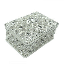 Silver Plated Alloy With Crystal Rhine Stone Jewelery Wedding Favor Trinket Box