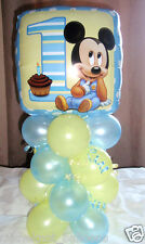 "18"" FOIL BALLOON  TABLE DECORATION DISPLAY MICKEY MOUSE 1ST BIRTHDAY AGE 1 B/L"