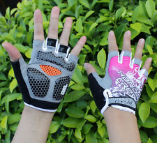 Pink Women Cycling Bike Bicycle 3D GEL Shockproof Half Finger Glove Size S-XL