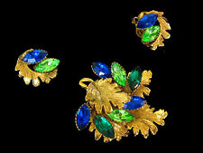 Vintage Capri Blue Peridot Green Florenza Multi-Level Brooch & Earrings