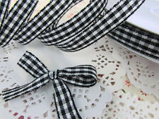 """25 yards Roll Double Sided Gingham Check 3/8"""" Ribbon/Craft/Trim/Baby R147-Color"""